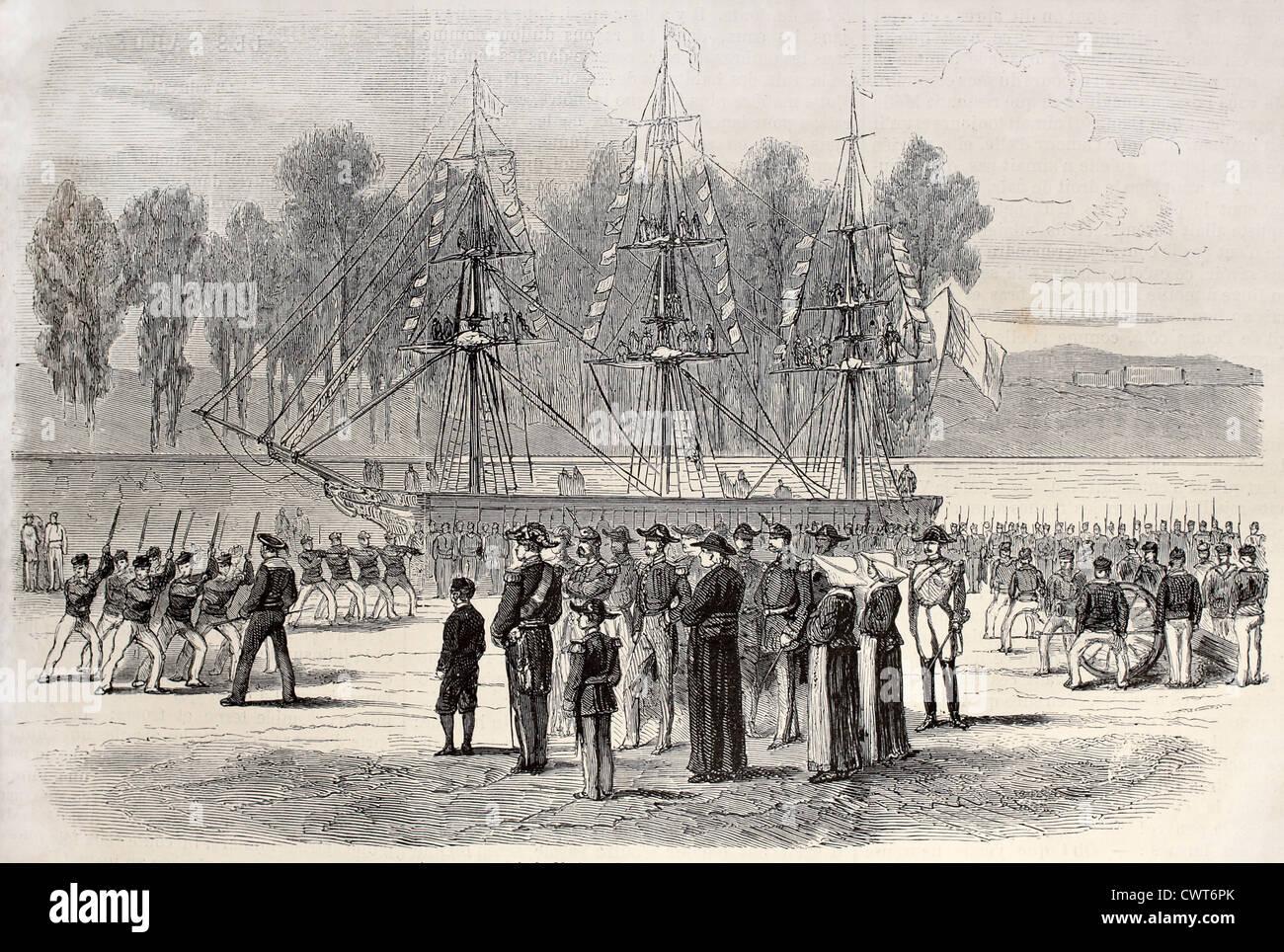 Prince Louis Napoleon Bonaparte visiting Navy school - Stock Image