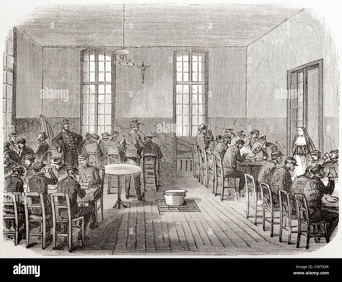 Refectory in Sainte Anne asylum - Stock Image
