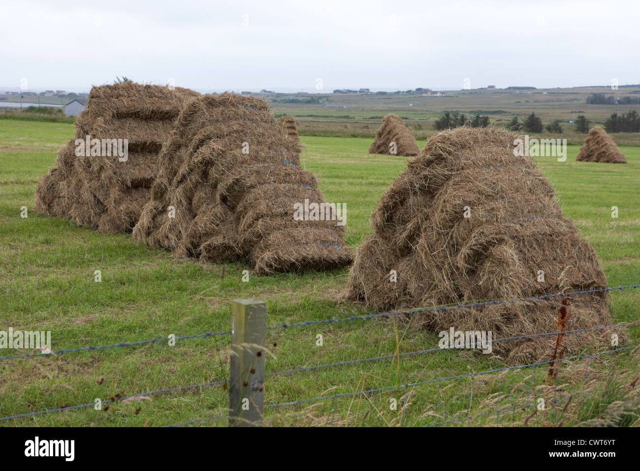 Hay Bales Stacked In Triangular Inverted Vee Formation To Aid Rain - Bales