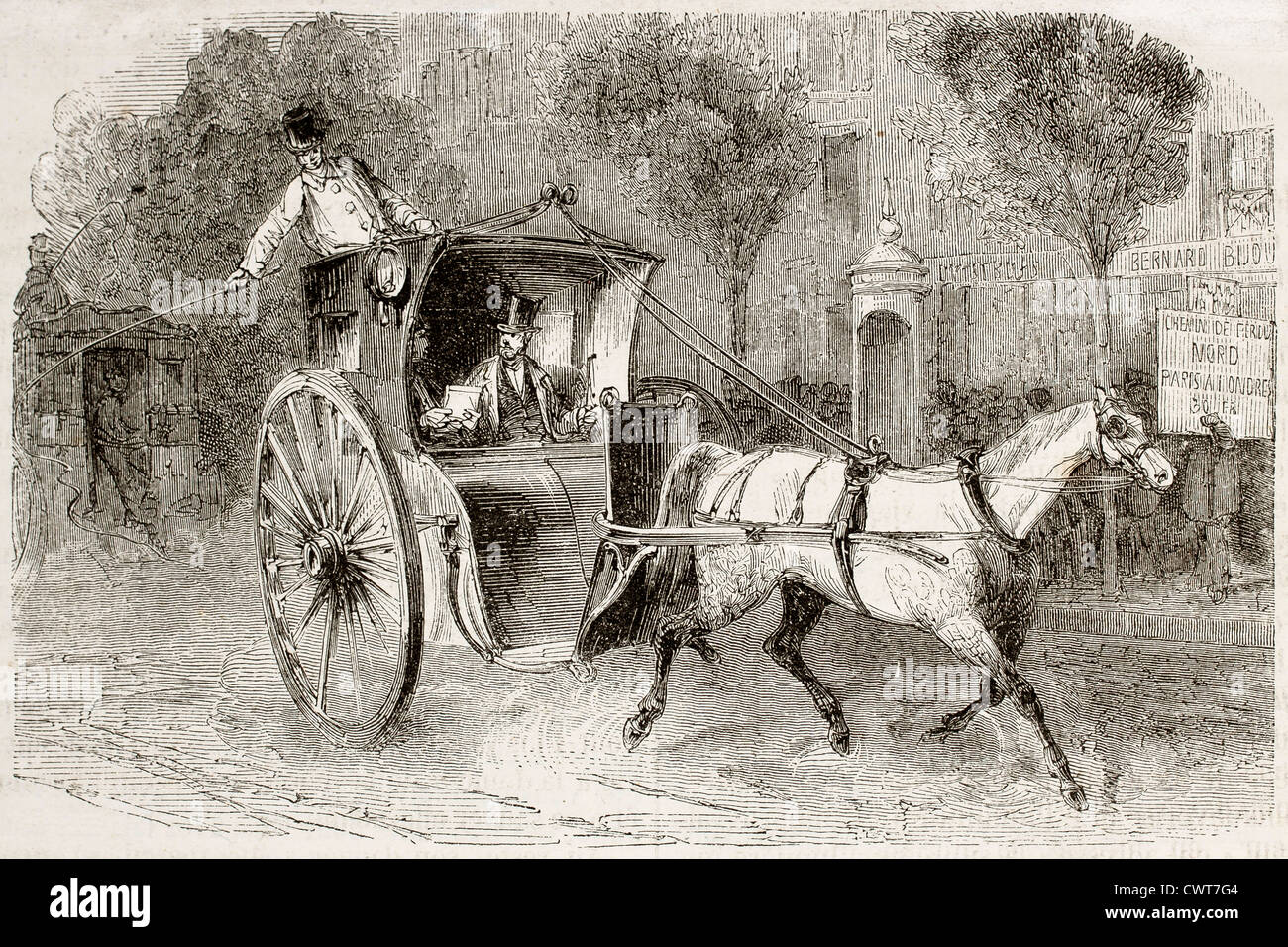 Old Illustration Of A Carriage With Passengers In Paris Stock Photo Alamy