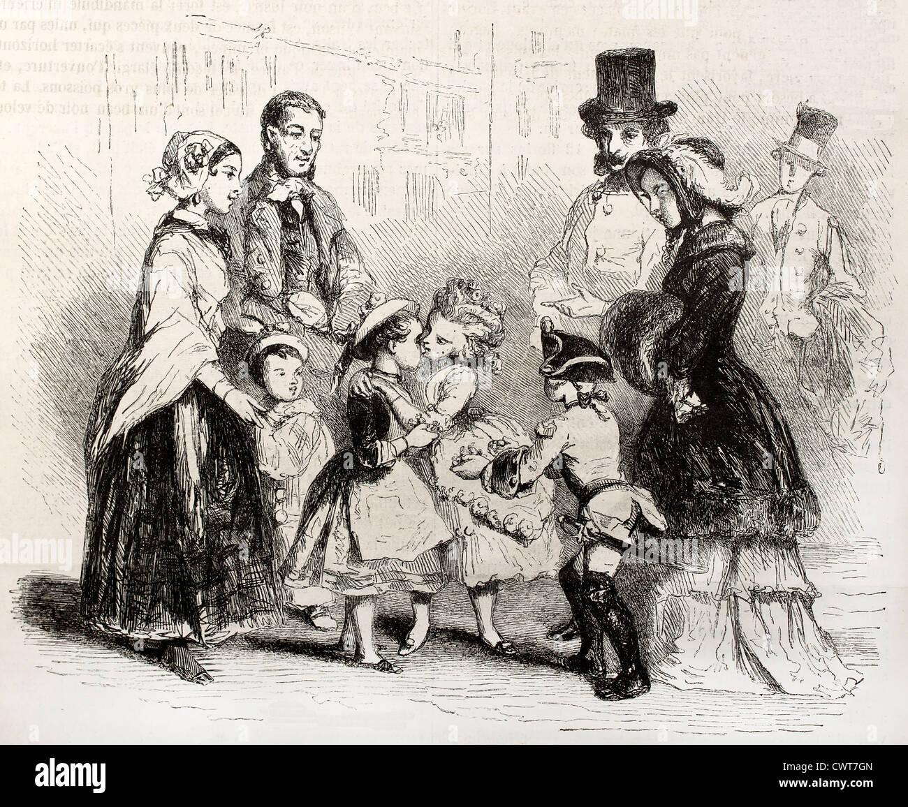 Old illustration of two children kissing - Stock Image