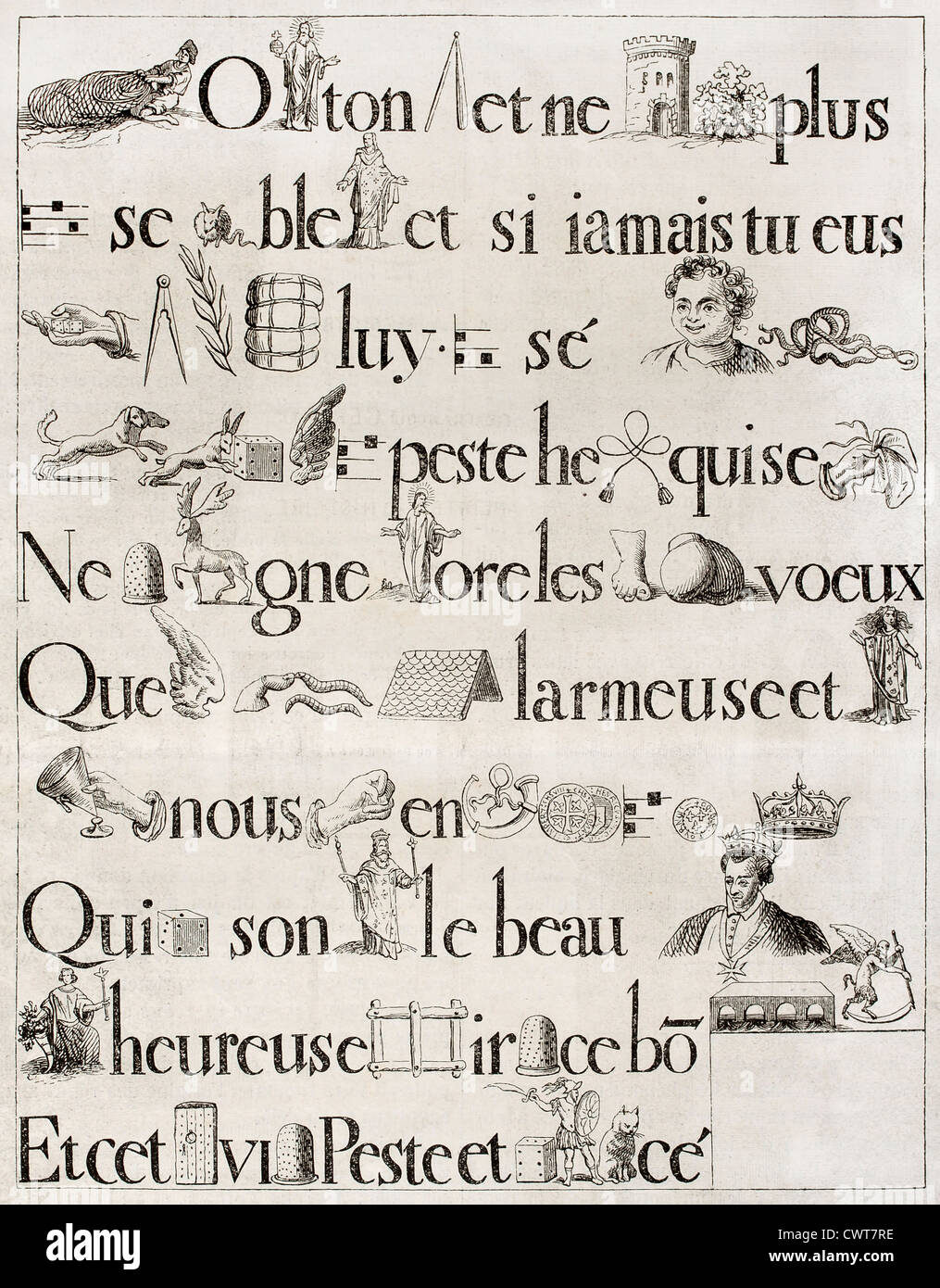 Old French rebus, from antique print of 1613 - Stock Image