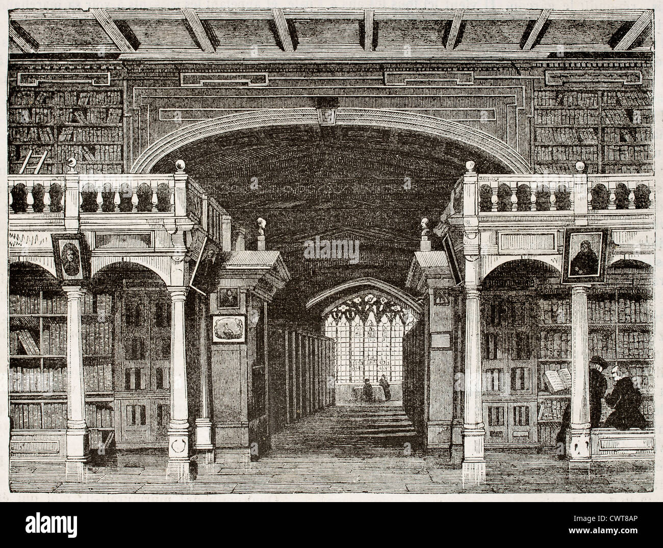 Bodleian library interior old illustration, University of Oxford - Stock Image