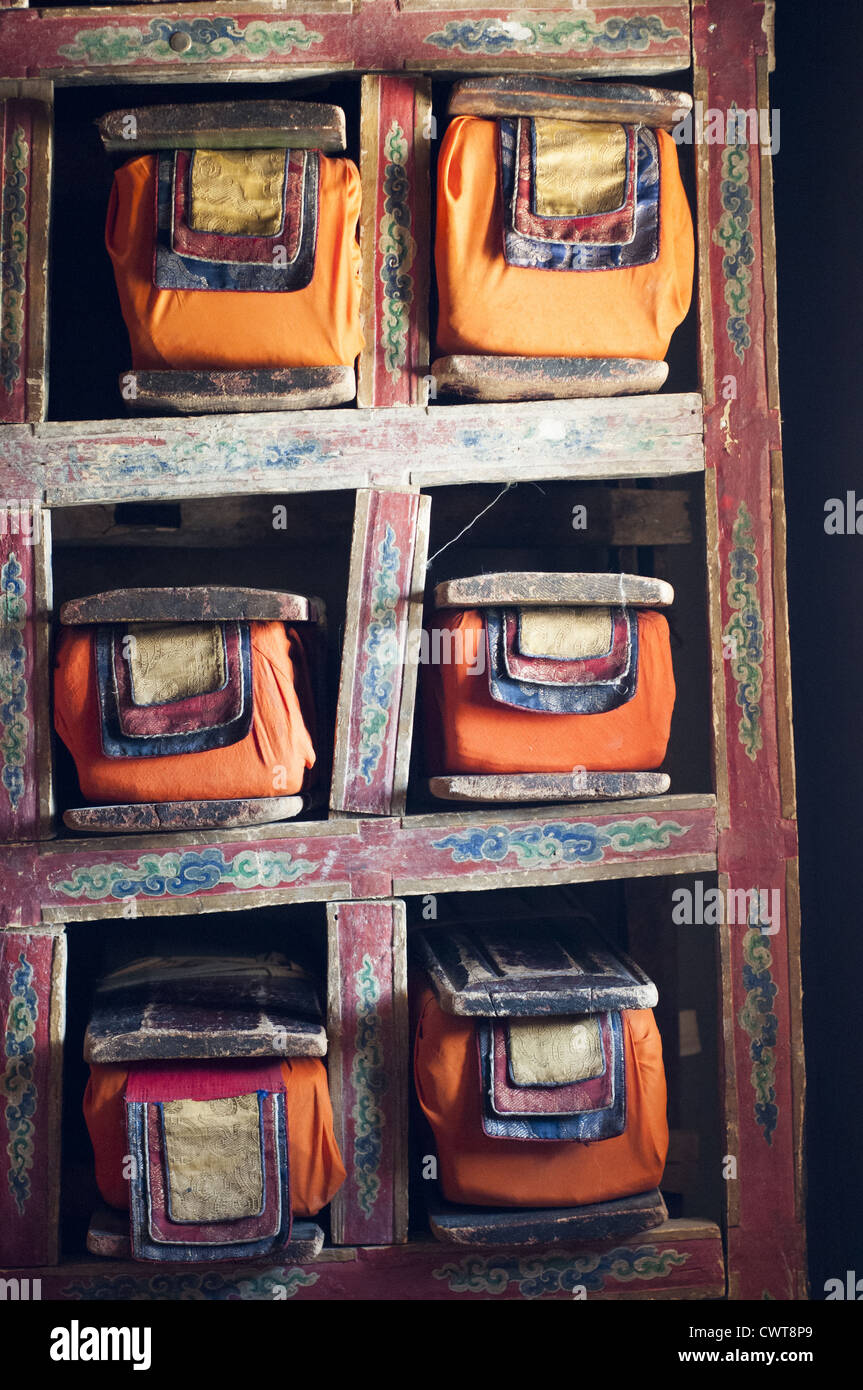 Ancient scriptures stored in the library at Thikse or Thiksey Gompa, near the Ladakhi capital of Leh - Stock Image