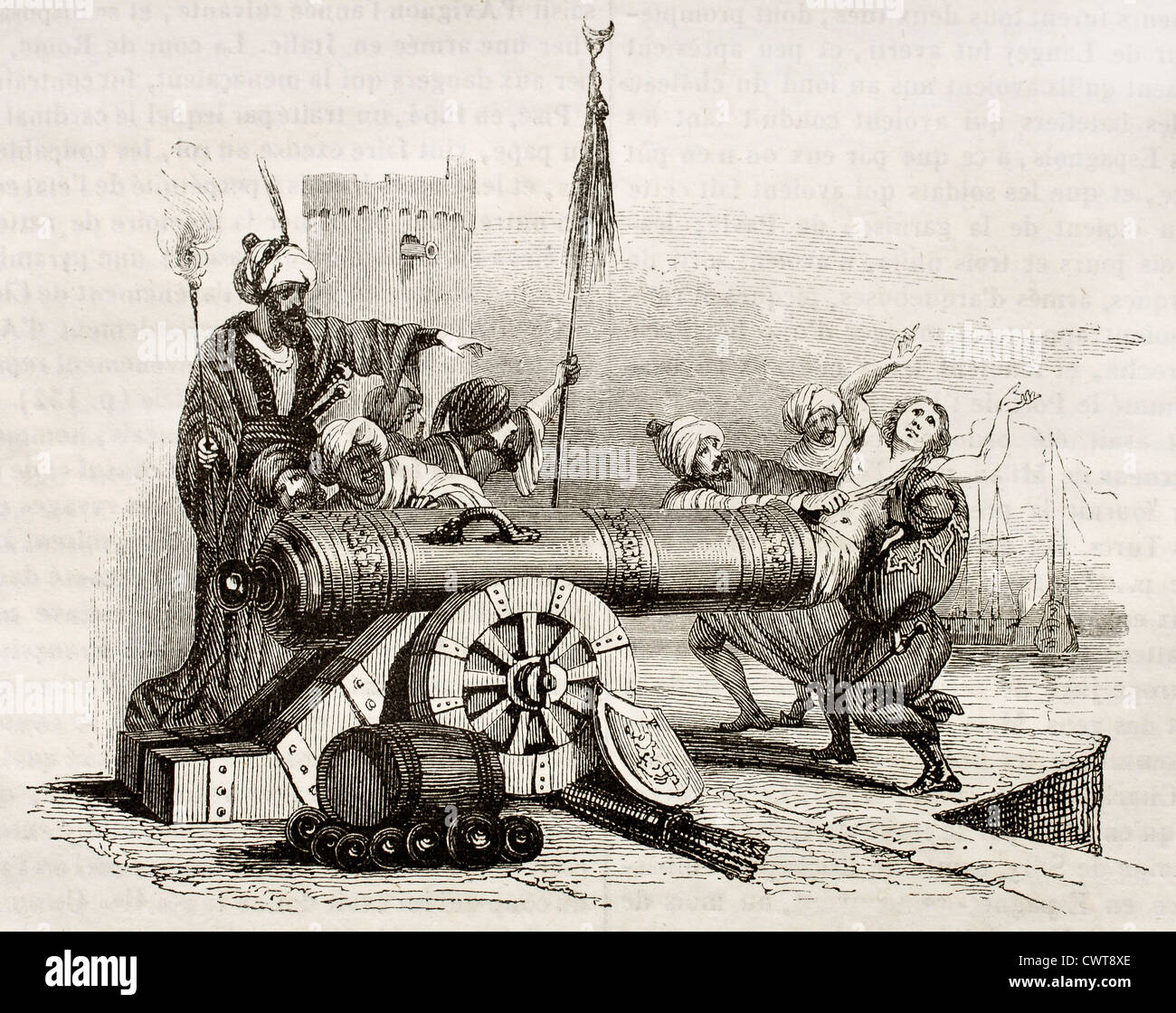 French consul in Algiers inserted in a cannon and shot - Stock Image