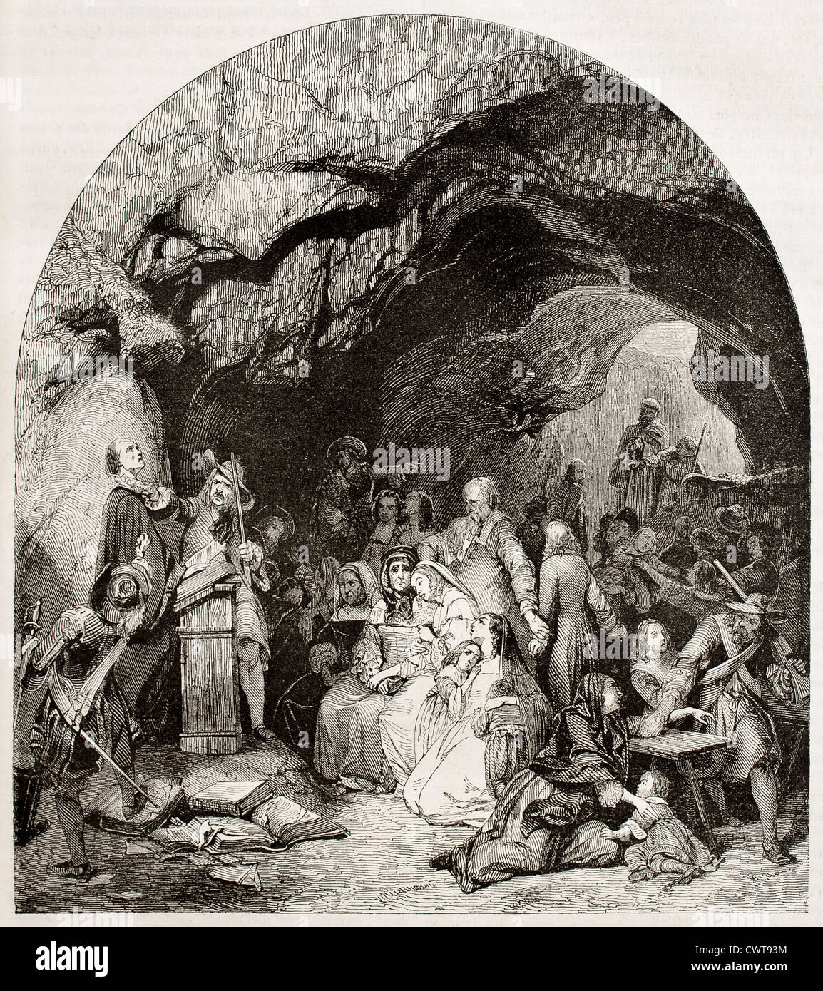 Protestants assembly in a cave - Stock Image