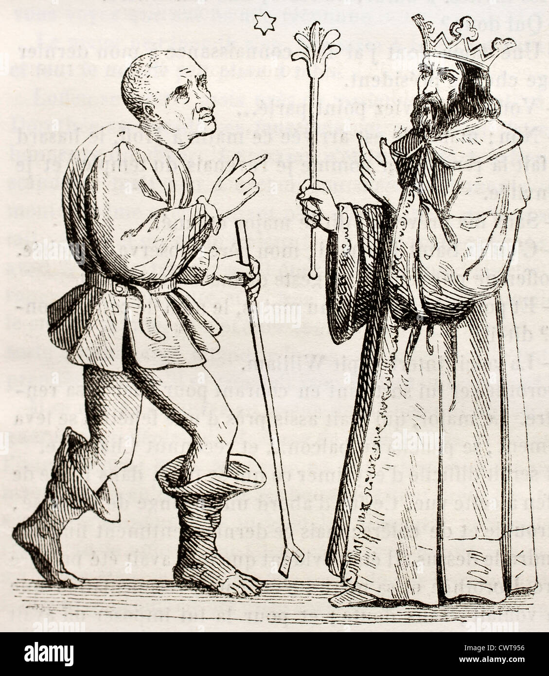 King Salomon and his jester Marcolphe - Stock Image