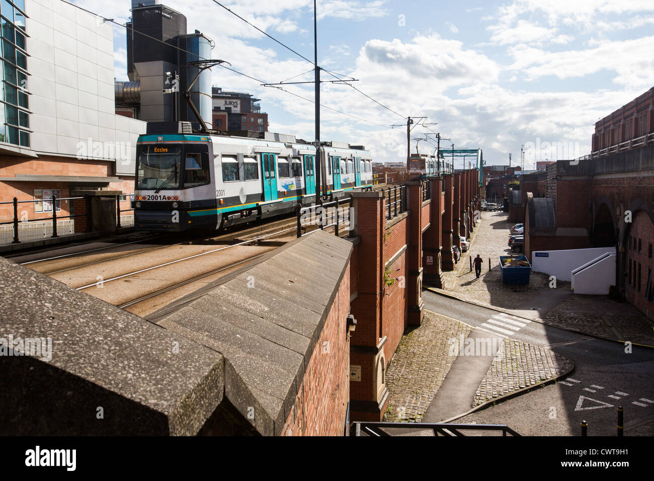 A tram in Manchester city centre. - Stock Image