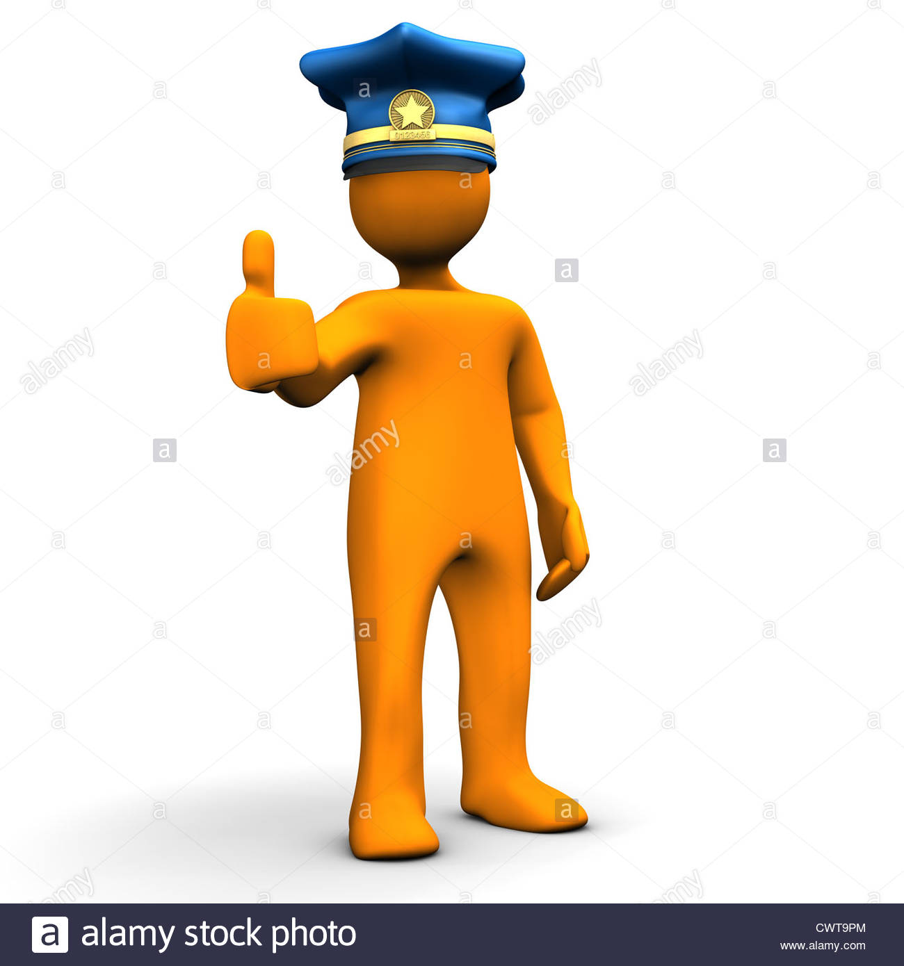 Orange Cartoon Character With Police Cap And The Symbol For Ok Stock