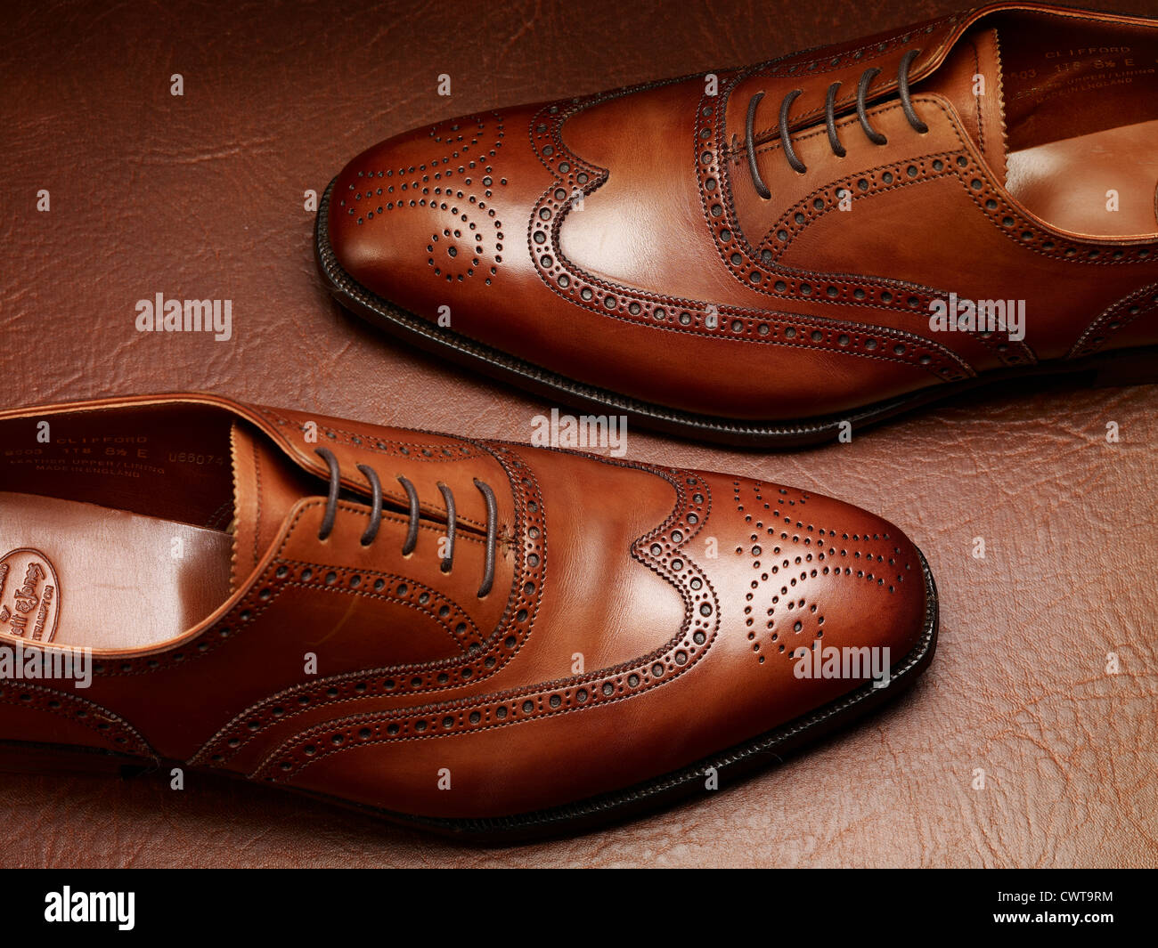 7a267b1639 Expensive luxory Brown leather brogue shoes on a vintage leather suitcase