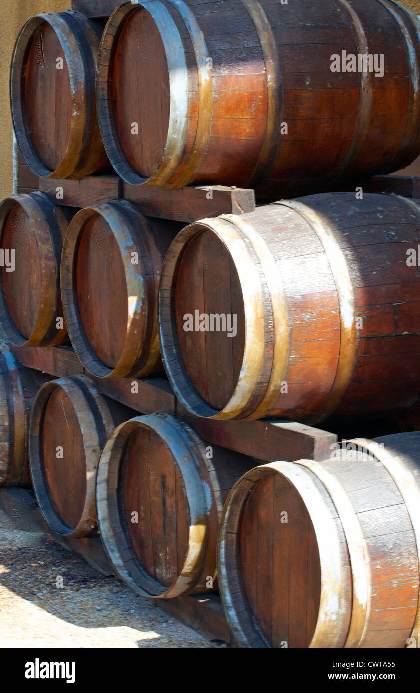 Wooden barrels for wine and beer storage - Stock Image