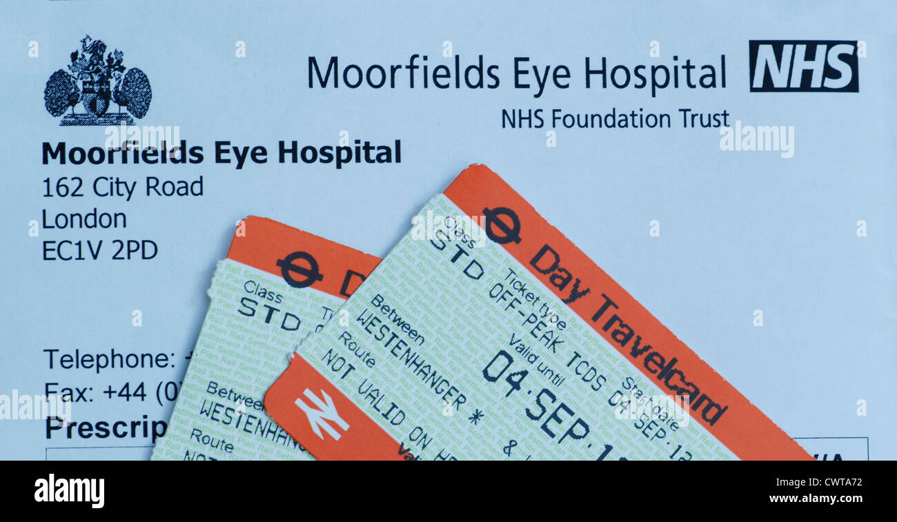Train ticket to Moorfields Hospital London - Stock Image