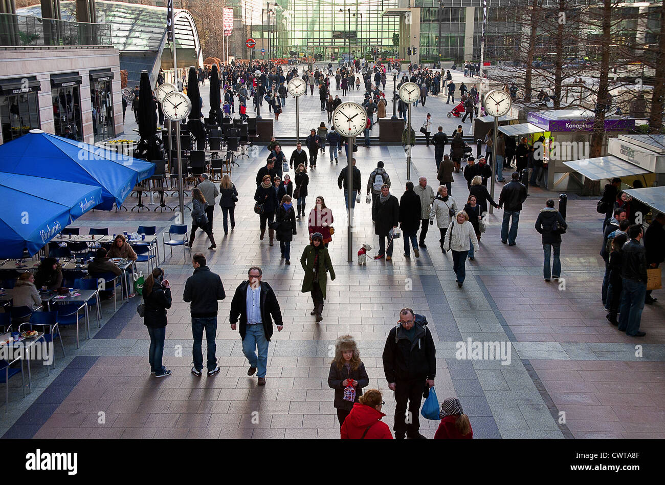 United Kingdom. England. London.Canary Wharf. Reuters Plaza in Canary Wharf. Crowds of people indoors. Stock Photo