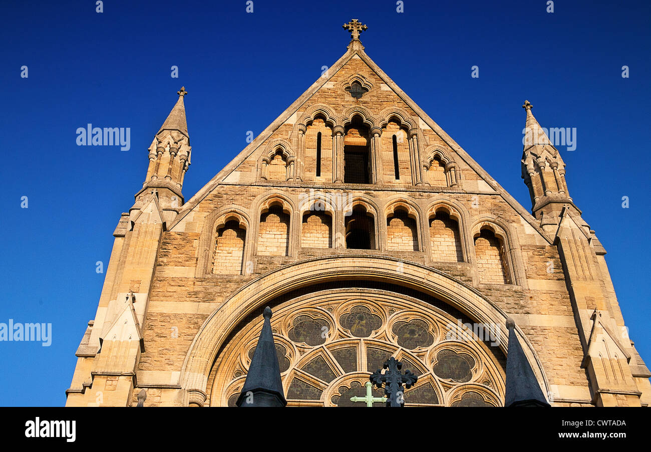 United Kingdom. England. London. Upper facade of St. John the Baptist church. Royal Borough of Kensington and Chelsea. - Stock Image
