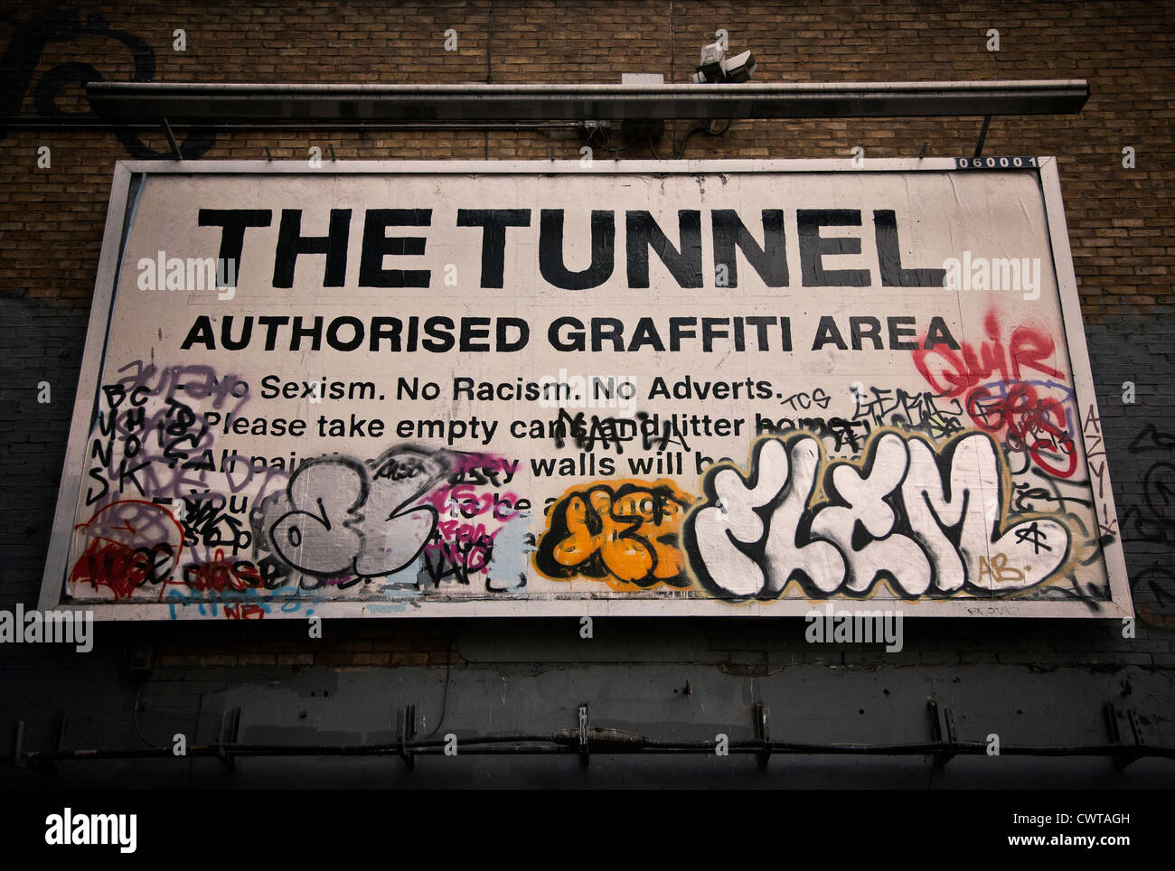 United Kingdom. England. London. Lambeth. Waterloo. Humorous sign on Leake Street underpass. 'The Tunnel Authorised - Stock Image