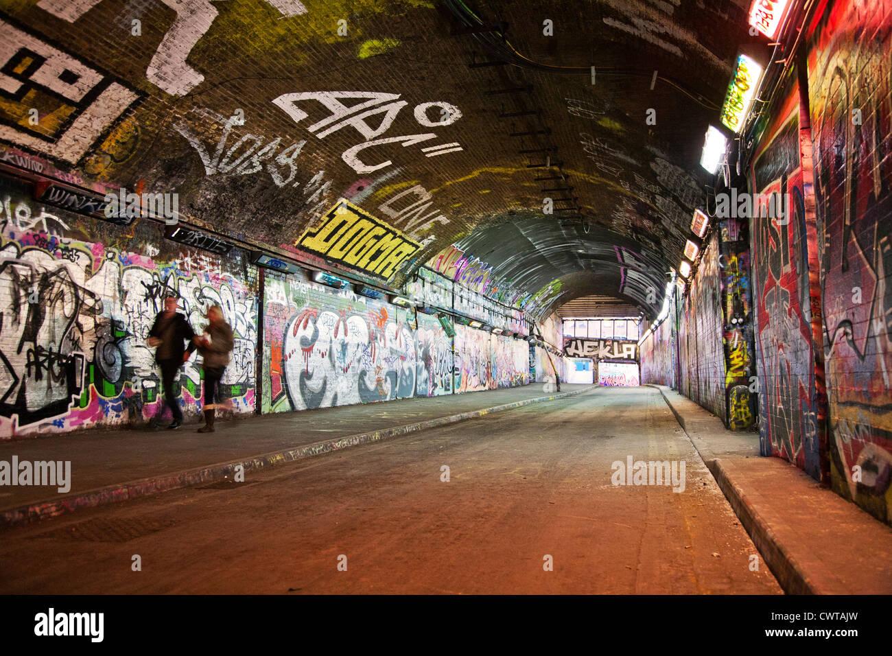 United Kingdom. England. London. Lambeth. Waterloo. Leake Street Tunnel. Authorised graffiti area. - Stock Image