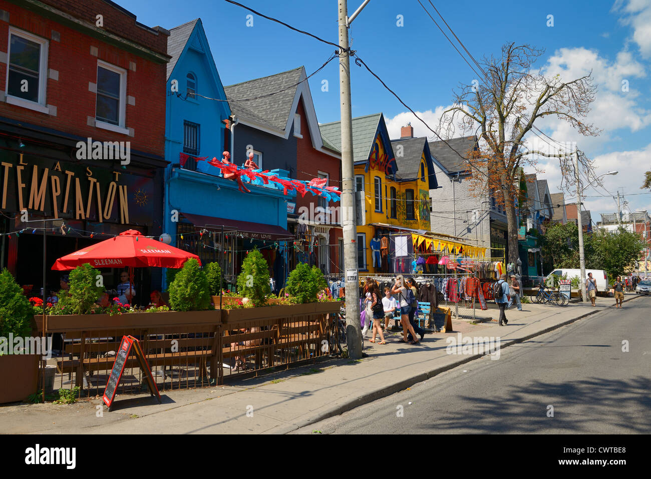 Colorful shops and buildings on Kensington Avenue Market in Toronto in summer - Stock Image