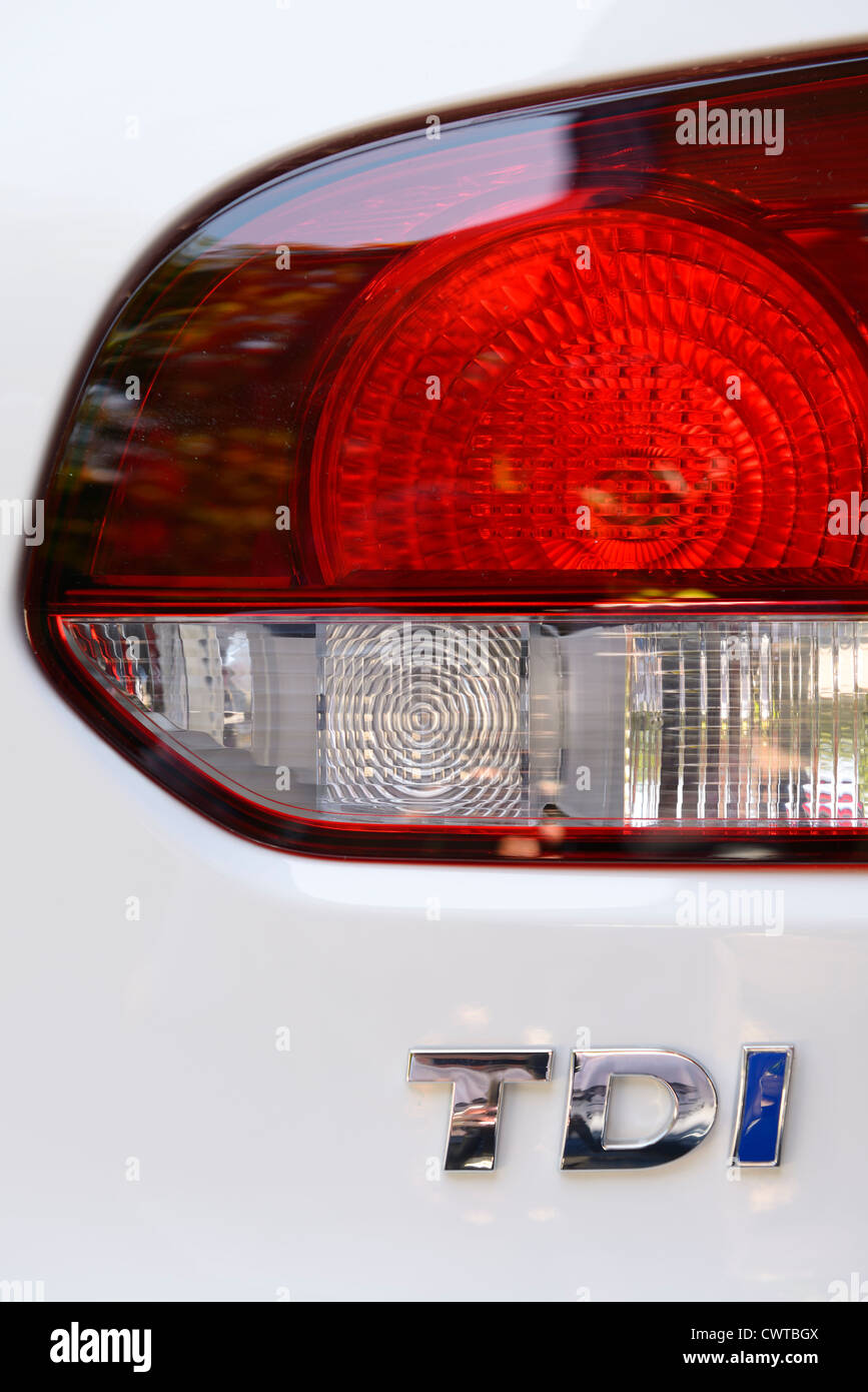 Volkswagen turbo direct injection TDI diesel engine controversial emissions scandal computer cheat car tail light - Stock Image