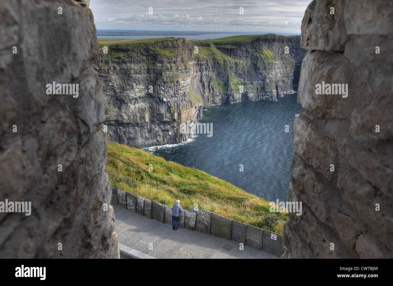 The Cliffs of Moher on the West Coast of Ireland rise vertically more than 200 meters out of the Atlantic Ocean - Stock Image