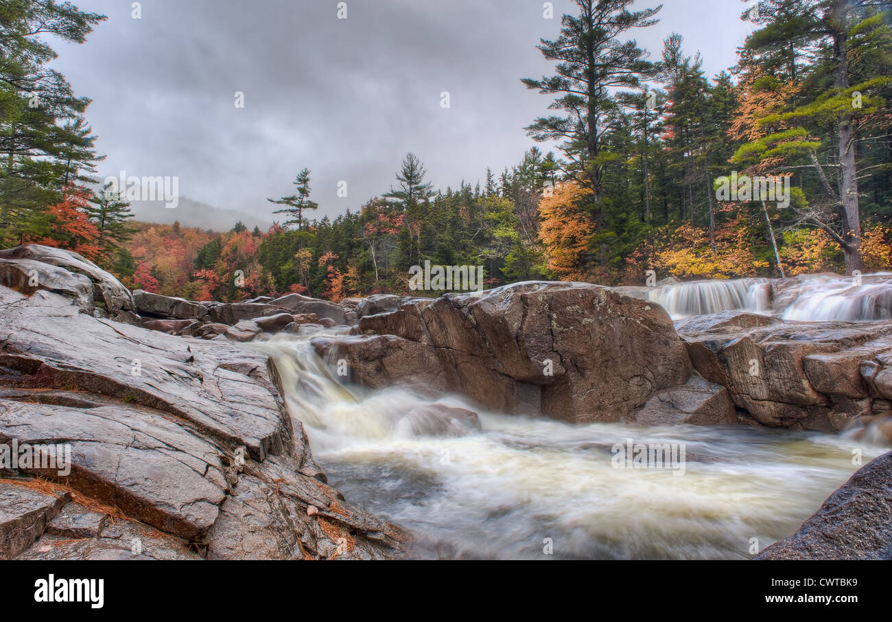 A river runs swiftly through a forest in the Fall in New Hampshire, USA - Stock Image