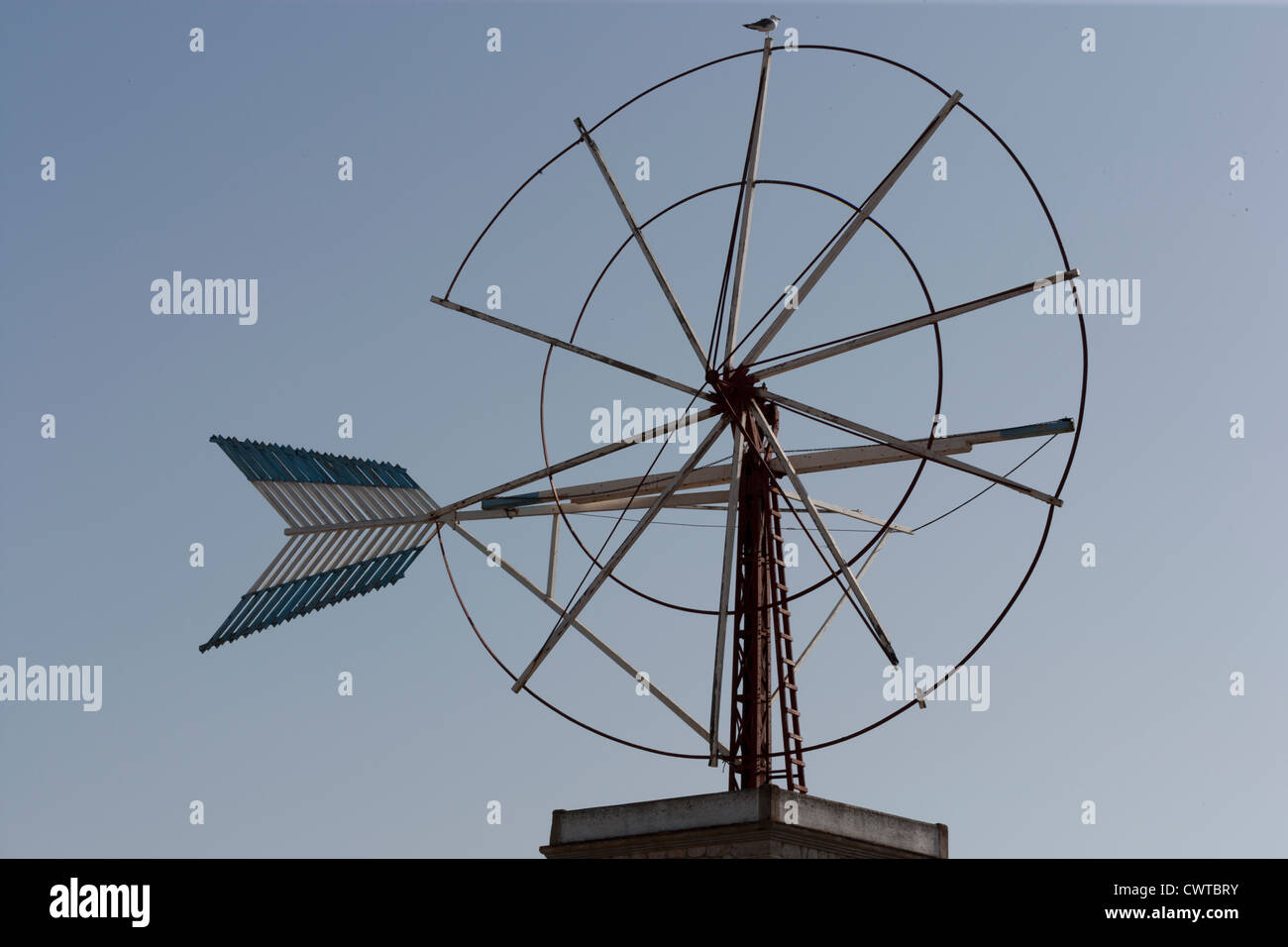 Spanish windmill water pump in a state of disrepair - Stock Image