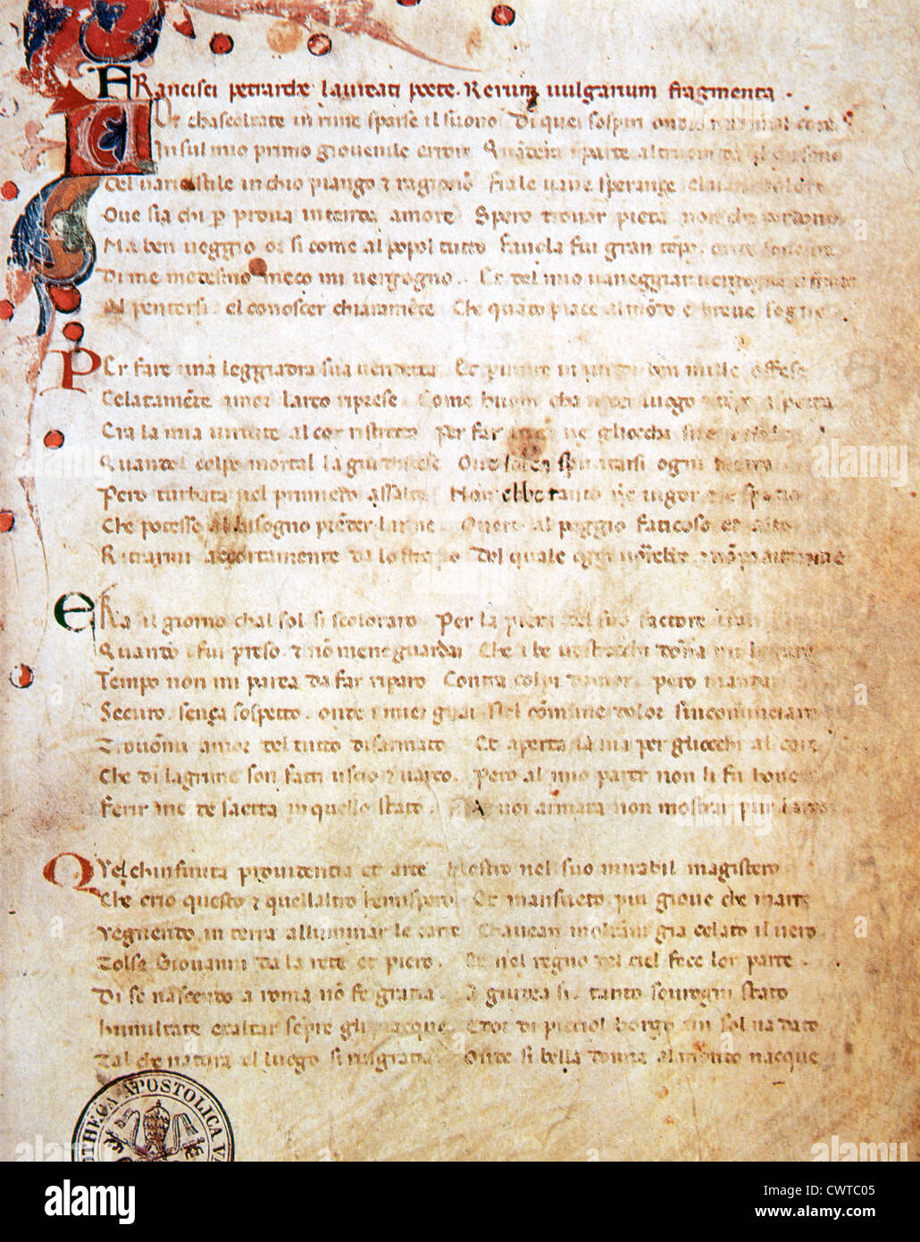 Petrarch (1304-1374). Song Book (Il Canzoniere), Also known as the Scattered Rhymes. Poem. Folio 1r. Vatican Library. - Stock Image