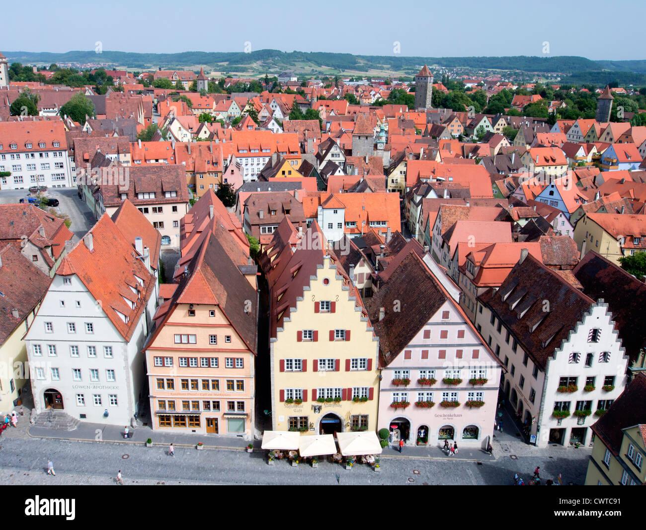 Rothenburg ob der Tauber medieval town in Bavaria Germany - Stock Image