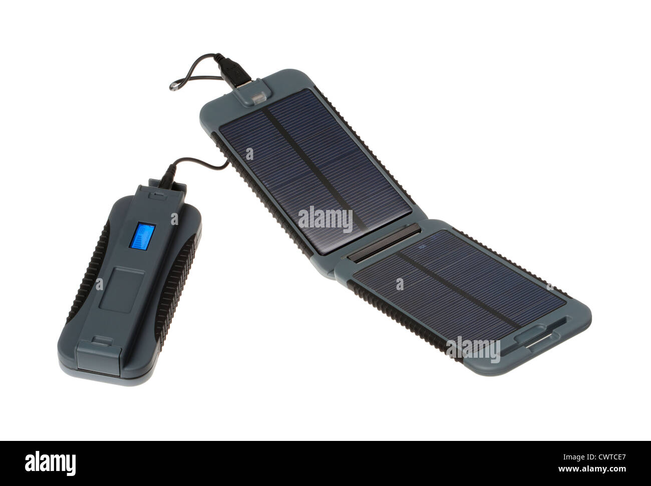 solar powered battery charger for travellers with no access to a mains supply of electricity - Stock Image