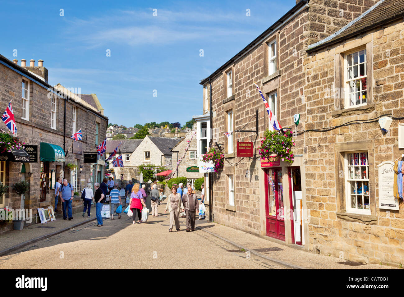 Bakewell town centre shopping street Derbyshire Peak district national park England UK GB EU Europe - Stock Image