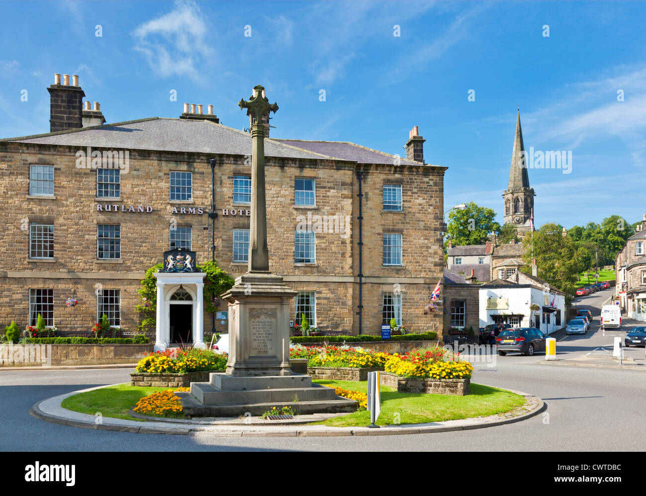 The Rutland Arms Hotel in Bakewell Town Centre Derbyshire Peak District national park England UK GB EU Europe - Stock Image