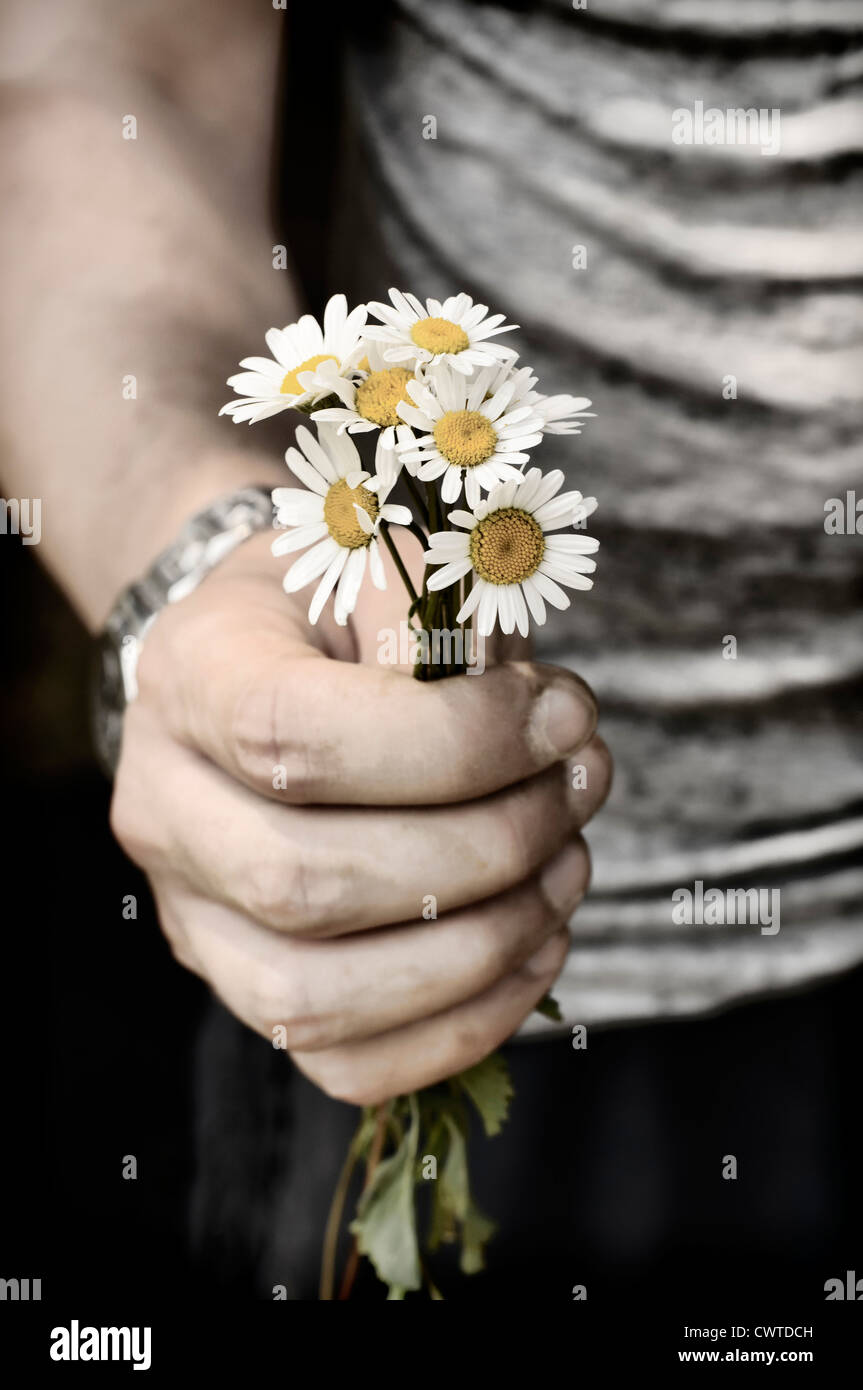 Holding flowers Stock Photo