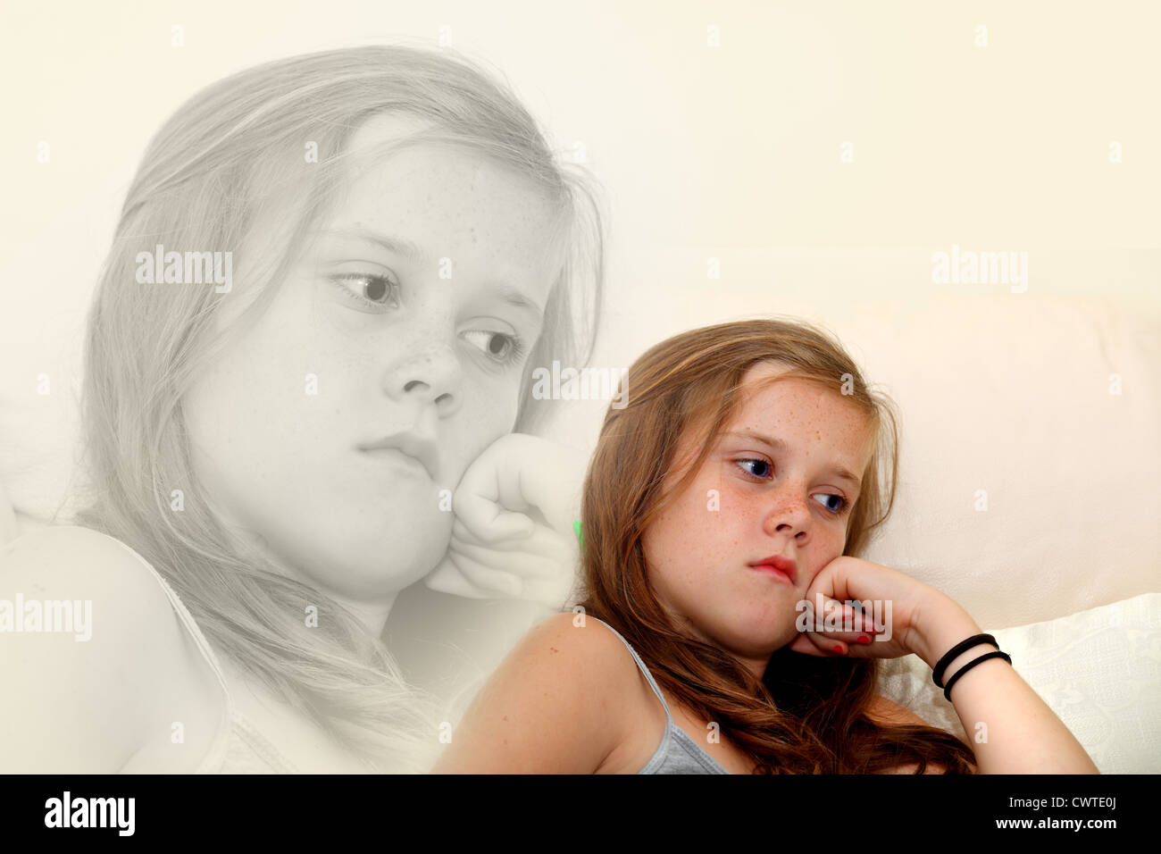 A color image of a 10 year old girl contemplating and looking sad, emphasized by a mono second image behind - Stock Image