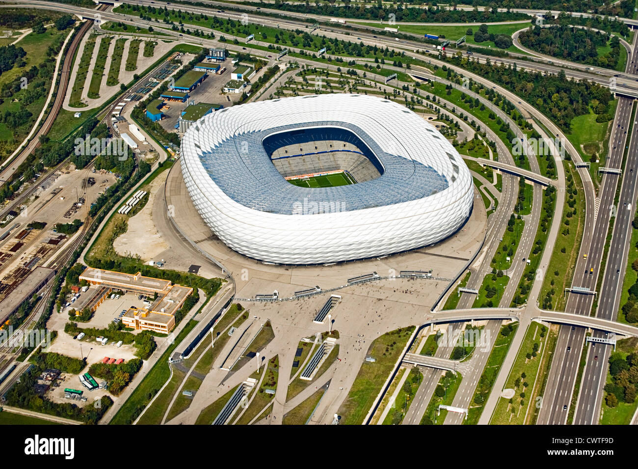 Soccer stadium, Munich, Bavaria, Germany, aerial view - Stock Image