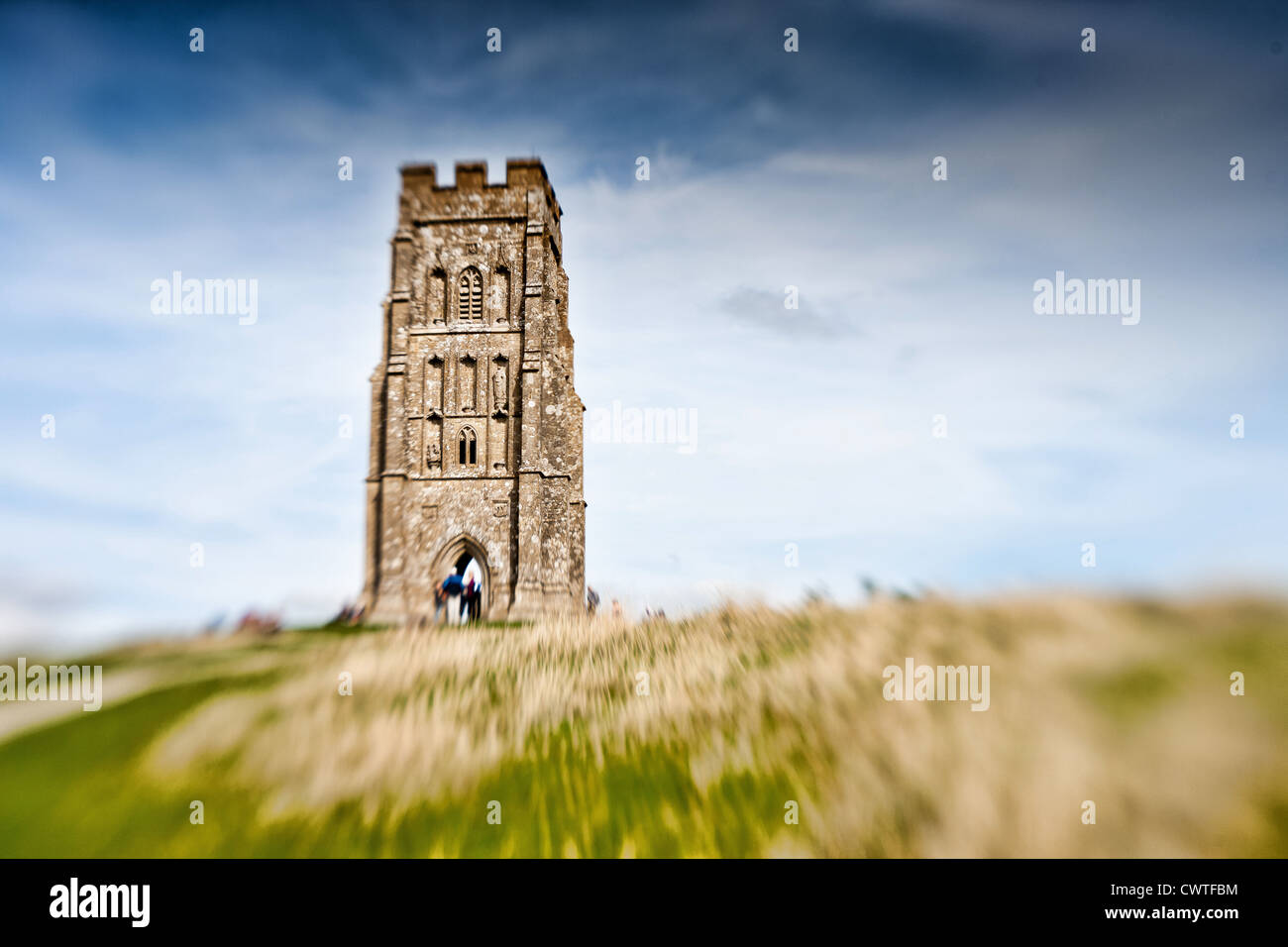 St Michael's Tower on Glastonbury Tor in Somerset England. - Stock Image