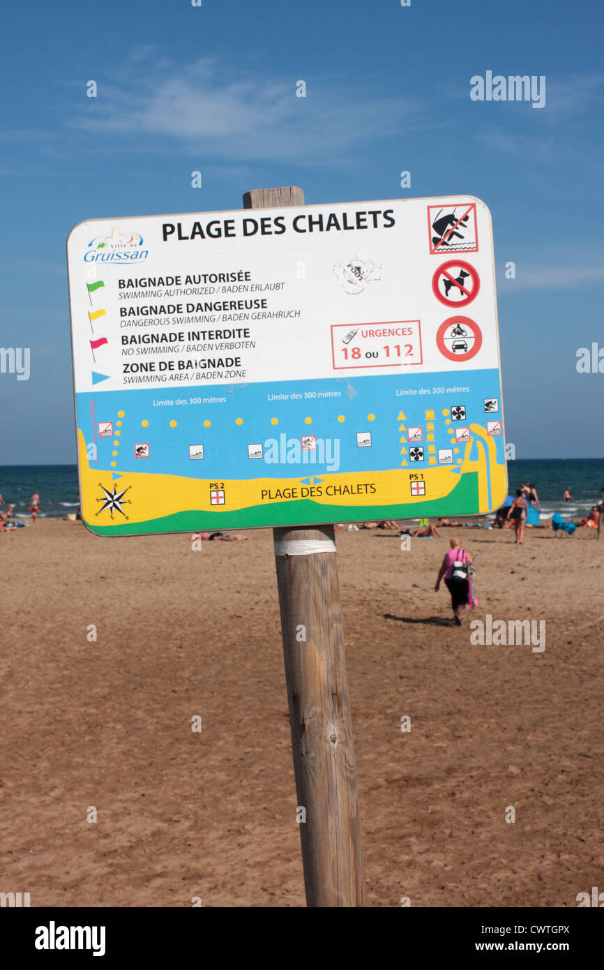 Plage Des Chalets A Gruissan warning sign on the plage des chalets gruissan languedoc