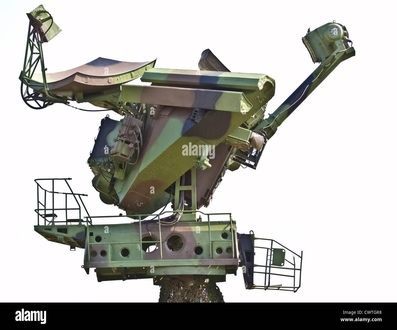 Russian soviet radar with camouflage netting - Stock Image