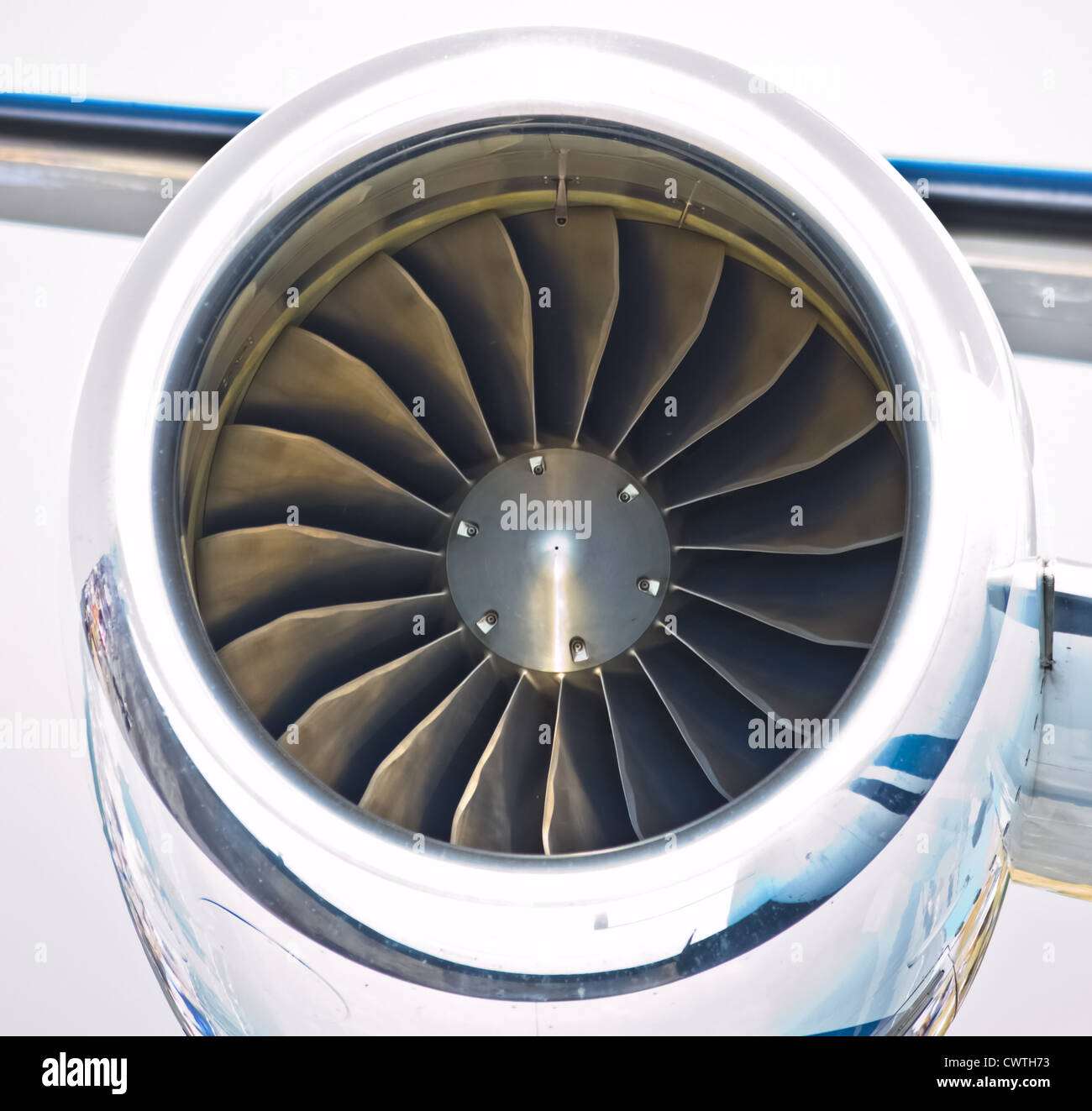 close up of turbojet of aircraft travel time - Stock Image