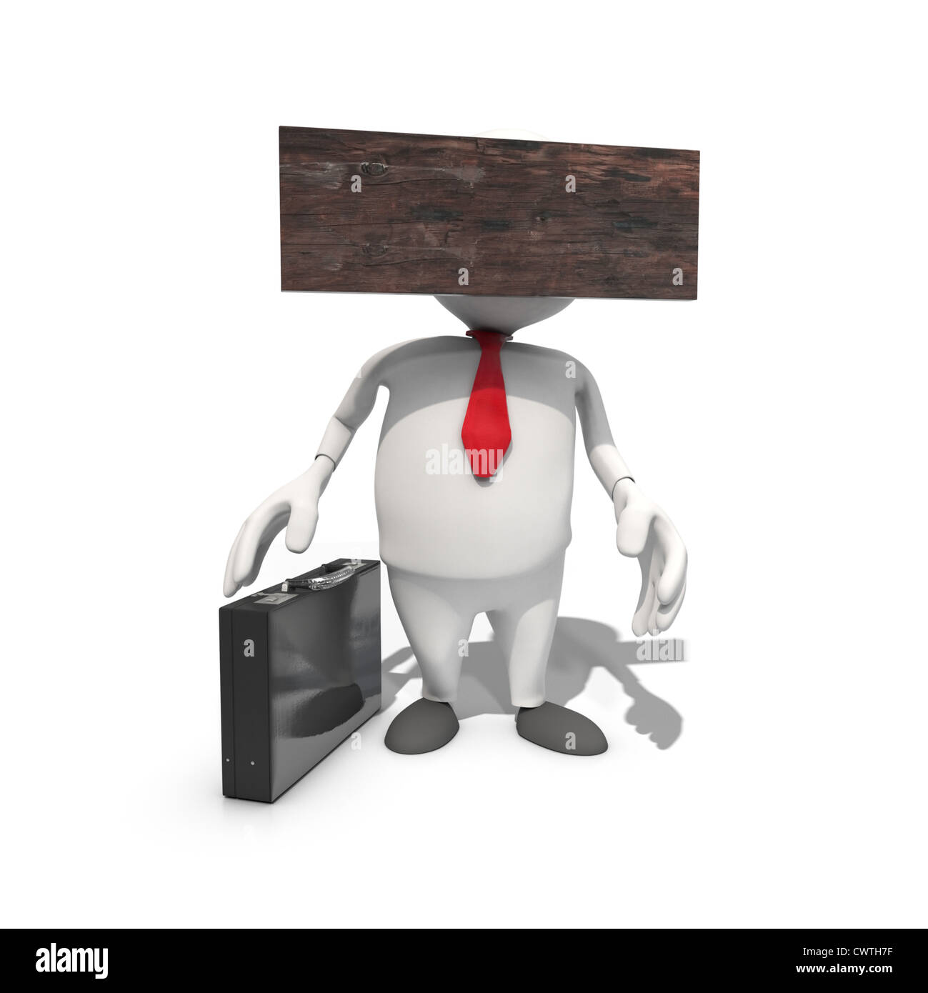 Blockheaded anthropomorphic Businessmen, CGI - Stock Image