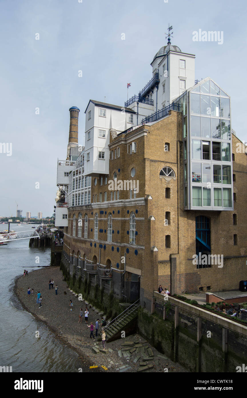 Butler's Wharf from Tower Bridge, London, Shad Thames - Stock Image