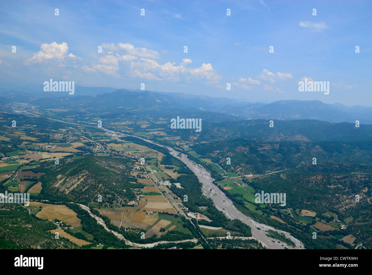 Aerial view of La Bleone valley and river near La Comerie/Mirabeau, Alpes de haute Provence, France - Stock Image