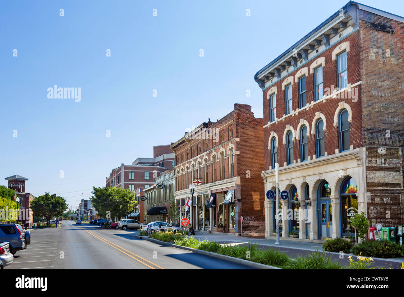 Historic buildings on Massachusetts Avenue, Indianapolis, Indiana, USA - Stock Image