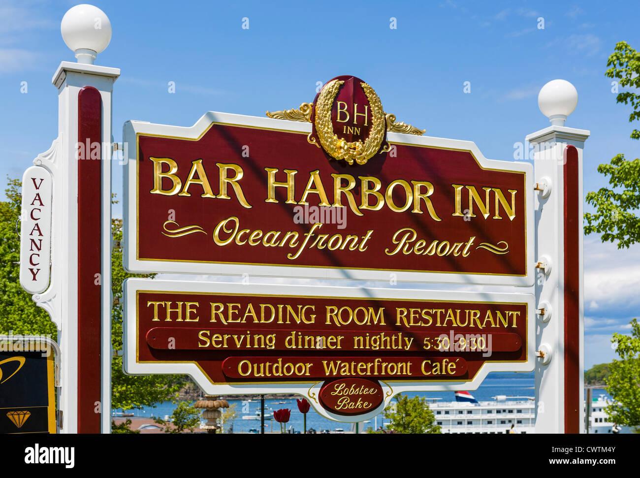 Sign for the Bar Harbor Inn, Bar Harbor, Mount Desert Island, Maine, USA - Stock Image