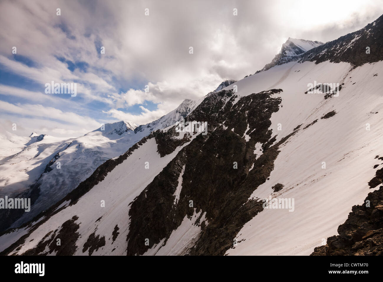 Summits of Alphubel, Taschhorn, Dom and Lenzspitze from the Mischabel Hut above Saas Fee in the Alps, Switzerland. - Stock Image
