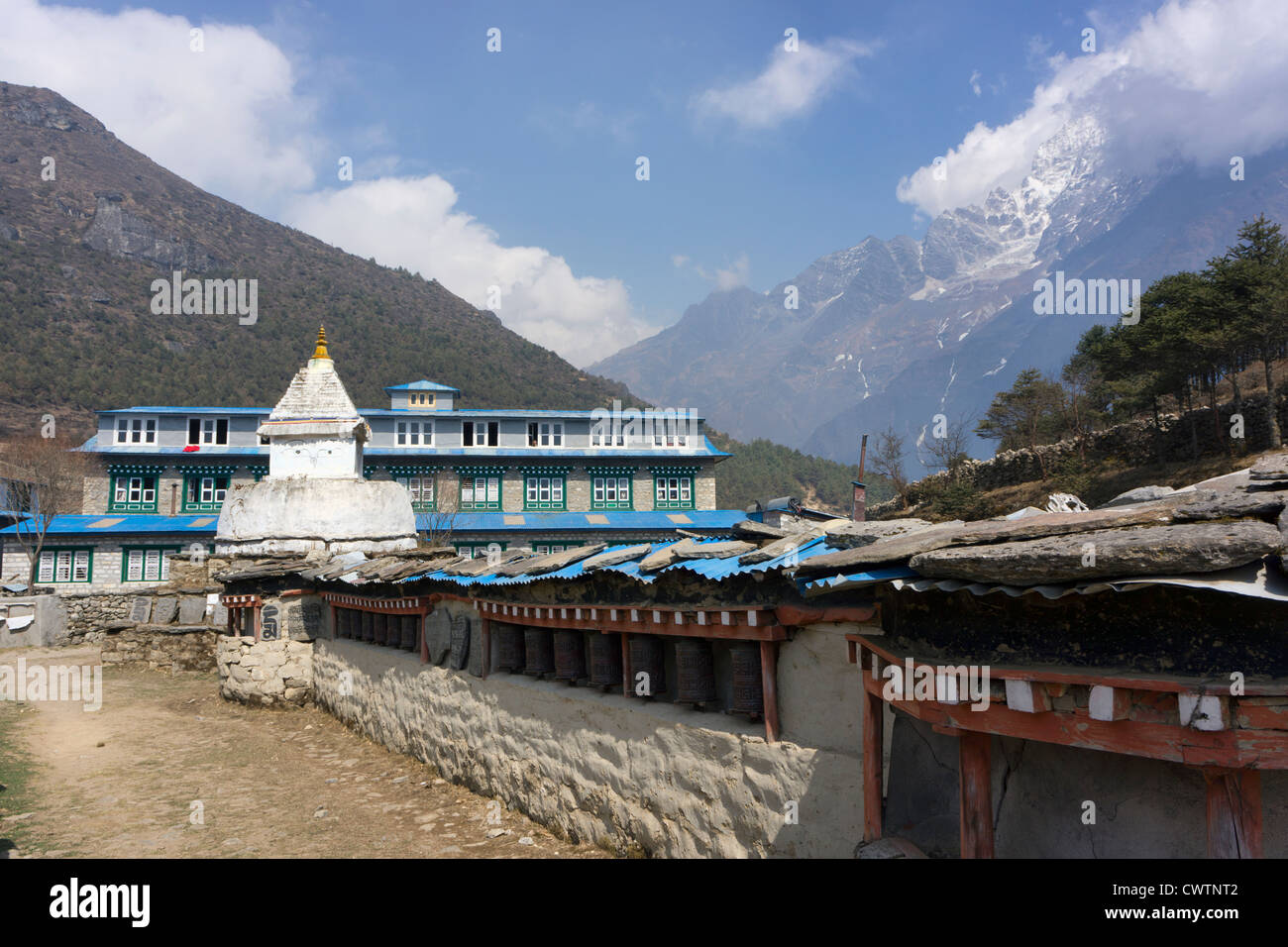 a lodge above Namche Bazaar in Nepal on the trek to Everest Base Camp - Stock Image