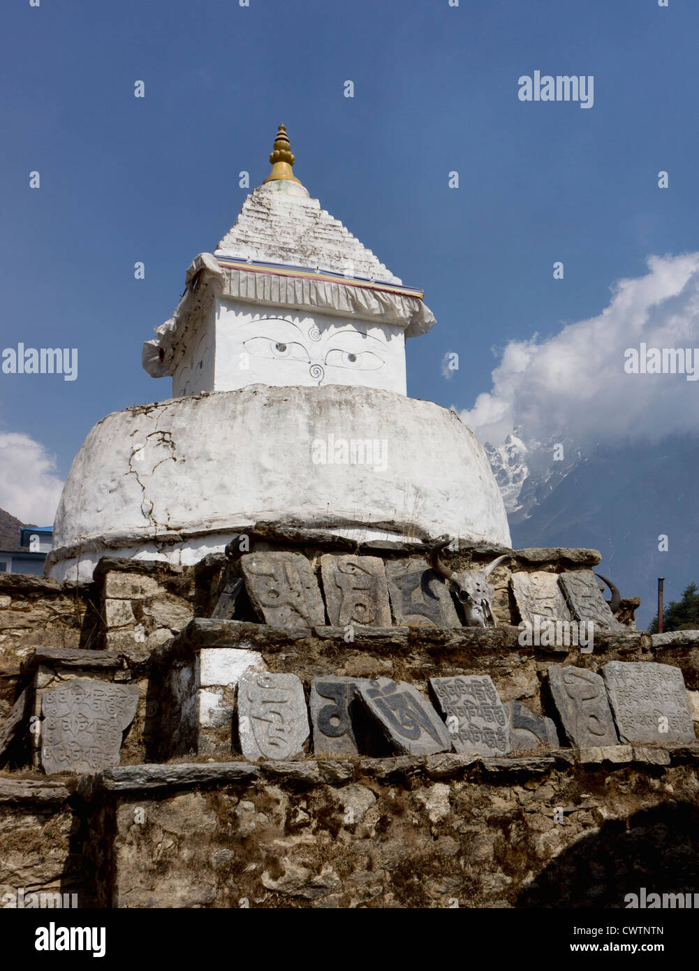 a stupa above Namche Bazaar in Nepal - Stock Image
