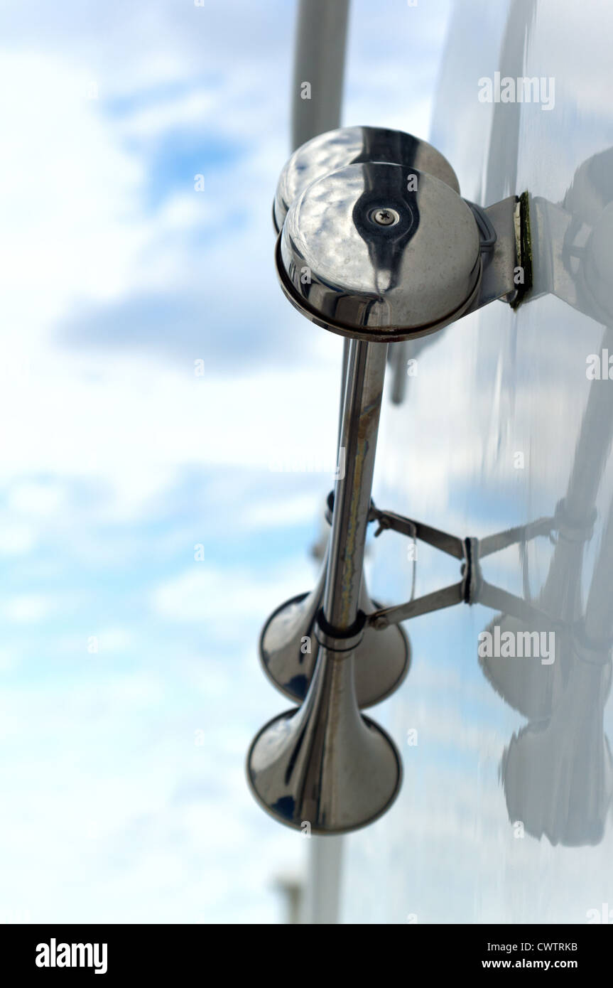 Double boat horn on side of yacht - Stock Image