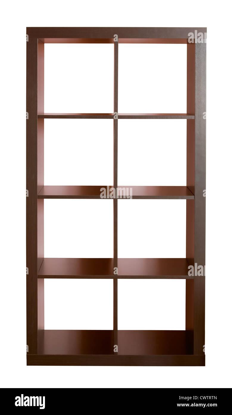 Empty dark wooden shelf isolated on white - Stock Image