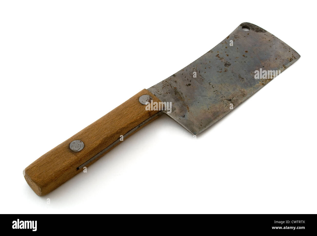 Old rusty meat cleaver isolated on white - Stock Image
