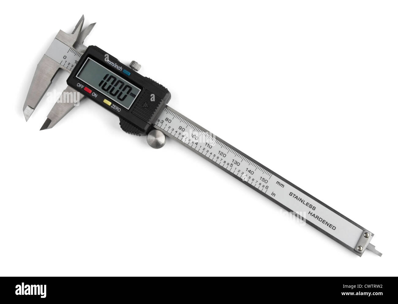 Electronic digital vernier caliper isolated on white - Stock Image