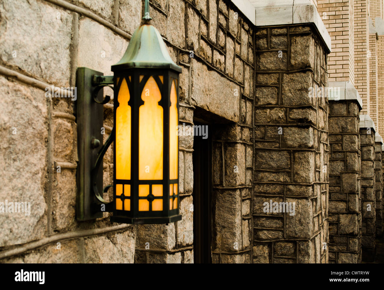 Lamp Wall Street Church Alley Light Bricks Yellow Lit Old Lantern Bolted The Way See Bulb